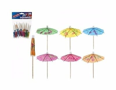 30 x Tropical Paper Mini Cocktail Drink Parasol Umbrella Party Drinks