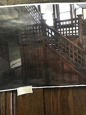 Complete Vintage Oak Arts And Craft Stairway / Rails, Newels, Paneled Walls No