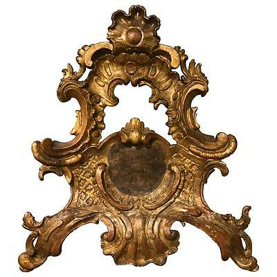 18th Century Italian Rococo Giltwood Crest, Large-Scale Architectural Carving