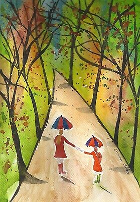 Mother & daughter in Woods Original  watercolour painting Size A4  Casimira