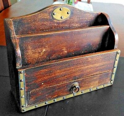 Lovelly Antique Wooden Letter Rack with Beautiful Patina Pen Draw & Brass Plaque