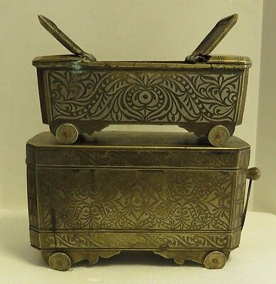 Antique 19th Century Bronze w/Silver inlay Betel Inlaid Boxes (1 w/coin wheels).