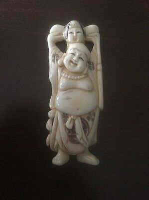 Antique Japanese Netsuke carved old man with Girl On Shoulders Signed