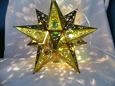 "Beautiful Gold 12"" Mexican Punched tin  lighted Star with marbles"