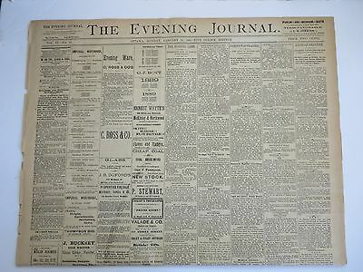 Ottawa Evening Journal Newspaper  01/14/ 1889  Interesting Articles