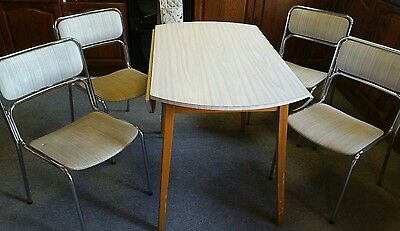 vintage retro drop lead table and 4 chairs
