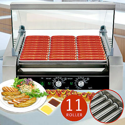 Roller Commercial 30 Hotdog Hot Dog 11 Roller Grill Cooker Machine W/Cover New