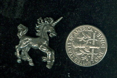 "Pack of 3 Vintage Pewter Small Unicorn Figurine ~ Appx 3/4"" Tall x 1"" Wide"