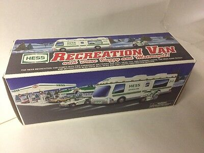 New VTG 1998 Hess Gasoline Fuel Truck Oil 1/32 Scale Promo Toy Van Motorcycle