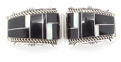 Navajo Sterling Silver Onyx & Opal Raised Inlay Watch Tips - Steve Fransisco