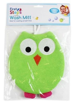 Green Terry Sponge Lined Kids Owl Bathtime Wash Mitt
