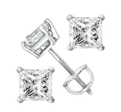 1 ct Princess Cut Solitaire Stud Earrings14k Real White Gold Screw Back