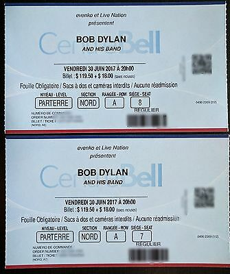 BOB DYLAN 2x TICKETS FRONT ROW FLOOR MONTREAL BELL CENTRE JUNE 30 2017