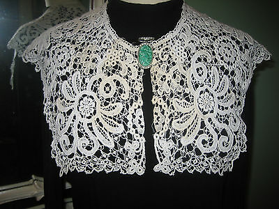 Antique Handmade Schiffili Lace Two Way Collar