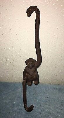 Vtg Clothesline Monkey Decorative Hanging Cast Iron Planter Hook Japan