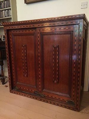 Arts And Crafts Inlaid Oak Cabinet With Sliding Doors English