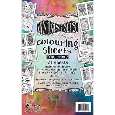 "Dyan Reaveley DYLUSIONS COLOURING SHEETS SET#3 - 5""X8""  2 each of 12 Designs"
