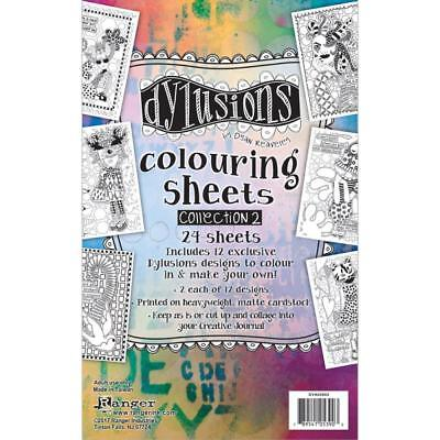 "Dyan Reaveley DYLUSIONS COLOURING SHEETS SET #2 - 5""X8"" 2 each of 12 Designs"