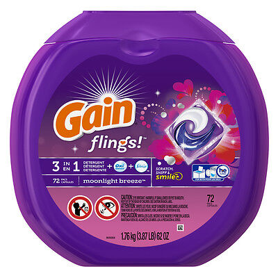 Gain Flings Moonlight Breeze High-Efficiency Laundry Detergent, 72 Counts
