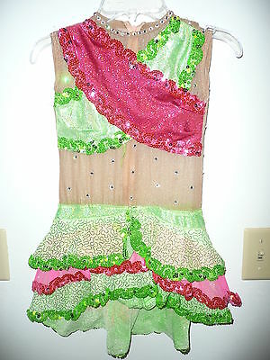 Custom made green/pink competition costume