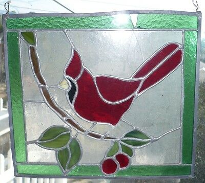 ANTIQUE VINTAGE OLD LEADED STAINED GLASS WINDOW with
