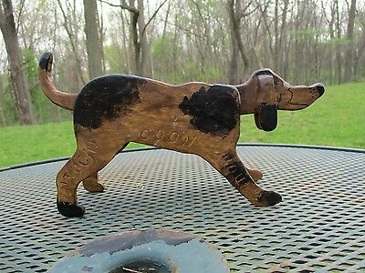 Vintage Folk Art Outsider Art Painted Wood Carving of Kentucky Coon Hound
