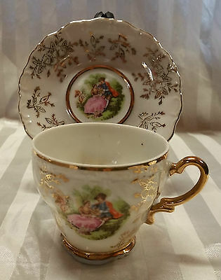 "Vintage Stunning  ""fine China Demetasse Cup &saucer Set "" Courting Couple, Japan"
