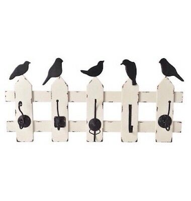 New French Provincial Rustic Metal Birds On Fence Wall Hook / Vintage Wall Hooks