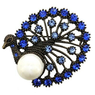 Vintage Style Sapphire Blue Peacock Crystal Brooch Pin. Free Delivery