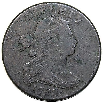 1798 Draped Bust Large Cent, Style 2 Hair, S-186, VF detail