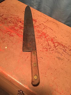 "Vintage Kitchen Chef Butcher's KNIFE 19 1/4"" Riveted Wood Handle LOW SHIPPING.."