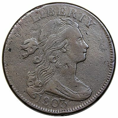 1803 Draped Bust Large Cent, scarce Large Date & Fraction, S-265, R.4, VF detail