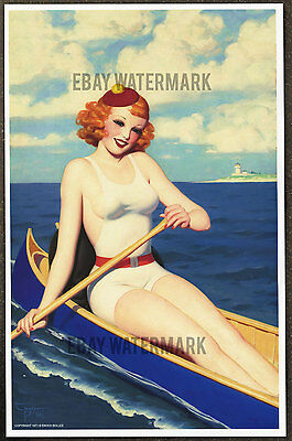 1930's Enoch Bolles Authentic Pin-Up Poster Art Print Canoe 11x17