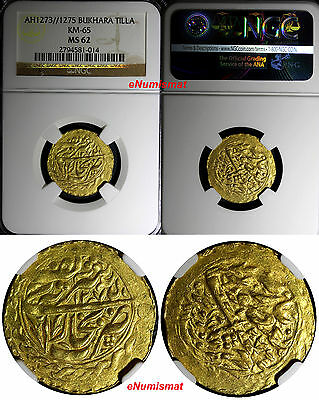 Central Asia BUKHARA  GOLD AH1273//1275 Tilla Two Dates NGC MS62 KM# 65