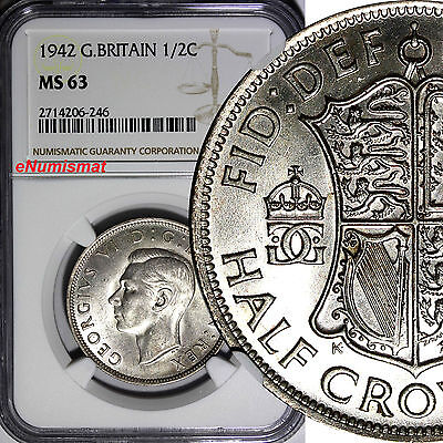Great Britain George VI Silver 1942 1/2 Crown NGC MS63 WWII Issue KM# 856