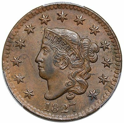 1827 Coronet Head Large Cent, N-11, PCGS MS61BN CAC