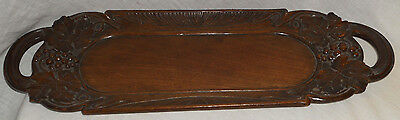 Antique Black Forest Carved Wooden Tray Border Grape Leaf Design