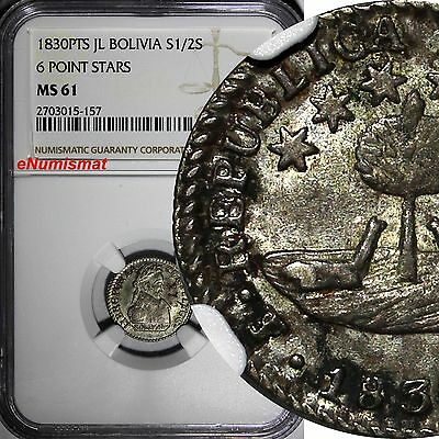 Bolivia Silver 1830 PTS JL 1/2 Sol  NGC MS61 6 Point Stars 1 YEAR TYPE KM# 93.3