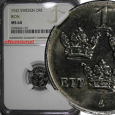 SWEDEN Gustaf V Iron 1942 1 Ore NGC MS64  World War II issues 1st YEAR  KM# 810