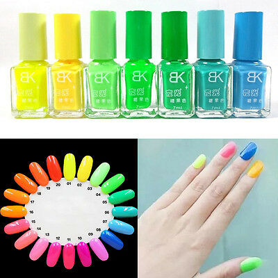 20 Colors 7ML Candy Color Neon Luminous Nail Art Polish Glow In Dark Varnish