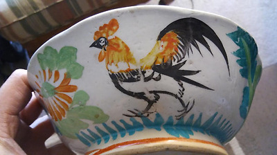 Chinese 19Th Century Qing Dynasty Porcelain Rooster & Flowers Bowl Marked