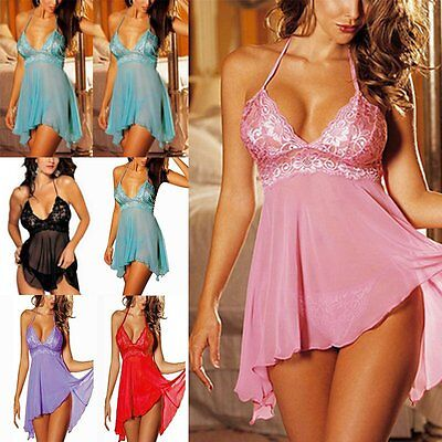 Plus Size Womens Lingerie Lace Dress Underwear Babydoll Sleepwear+G-string M-3XL