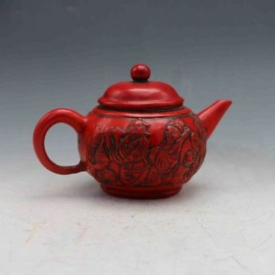 Rare Chinese Collectable Red Coral Hand Carved Eight Immortals Teapot&Lid