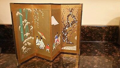Signed Antique Miniature folding Japanese table top Screen.