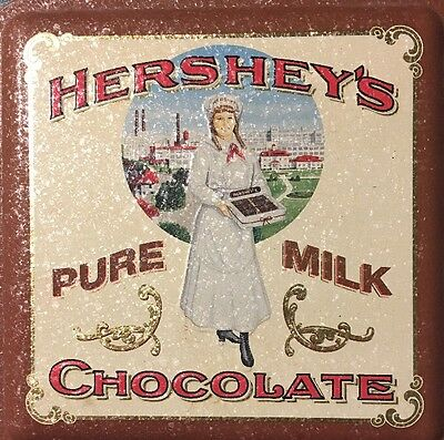 Vintage #2 1992 Hershey's Pure Milk Chocolate Metal Tin Container Box Canister