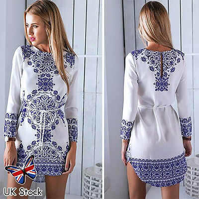 Womens Floral Print Long Sleeve Boho Dress Ladies Evening Party Short Mini Dress