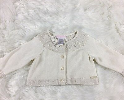 Janie And Jack Girls White Layette 3 To 6 Months Sweater Cardigan New With Tags