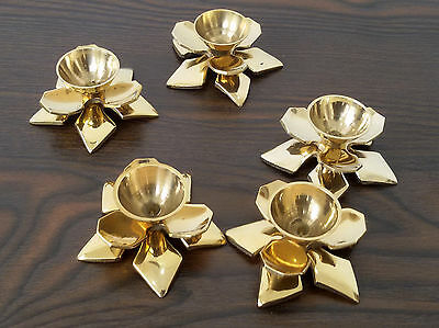 Vintage 5 Pieces Solid Brass Decorative Candlesticks Candle Holders Antique