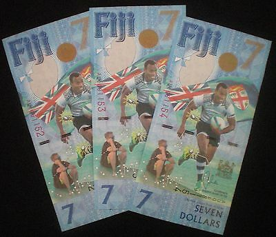 Fiji 2017 3 x $ 7 Seven Dollar Notes + 3 x 50 cent commem. coin (3 Pcs each) UNC