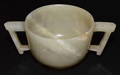 Antique Chinese 1800's RARE White Jade Hand Carved Tea Cup! 5CM Tall! Bk/ Bwn!